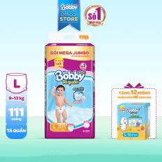 [GIẢM 7% ĐƠN 777K] [PHIÊN BẢN HÈ GIỚI HẠN] [TẶNG 12 MIẾNG] Tã/bỉm quần Bobby gói Mega Jumbo L111 (9-14kg)