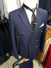 Bộ vest nam ôm body 6 cúc màu xanh đen đậm tặng kèm phụ kiện