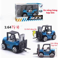 Đồ chơi mô hình xe nâng hàng KAVY chất liệu kim loại mini tỷ lệ 1:64 an toàn cho bé có thể trang trí – màu xanh