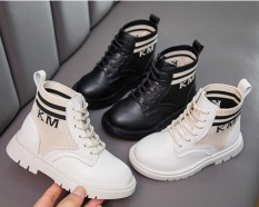 Boot da bé gái bé trai thiết kế chun cực đẹp da mềm đi êm chân giày cao cổ trẻ em dễ phối đồ mẫu mới 2020