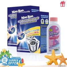 Combo 02 hộp bột tẩy vệ sinh lồng máy giặt Ag+ Mao Bao 306g – Tặng 01 chai nước giặt kháng khuẩn 200g