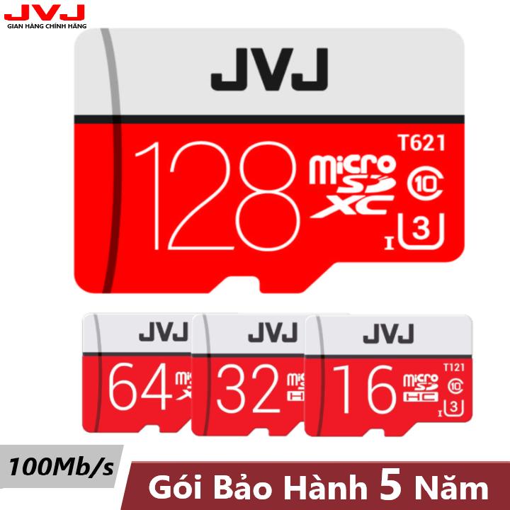Thẻ nhớ 128G/64G/32G/16G Class 10 JVJ Pro U3 tốc độ cao 100MB/s chuyên dụng cho camera wifi, camera hành trình, điện thoại, máy chơi game, chất lượng hình ảnh 4k bảo hành 5 năm đổi mới trong vòng 7 ngày, thẻ 128G/64G/32G/16G