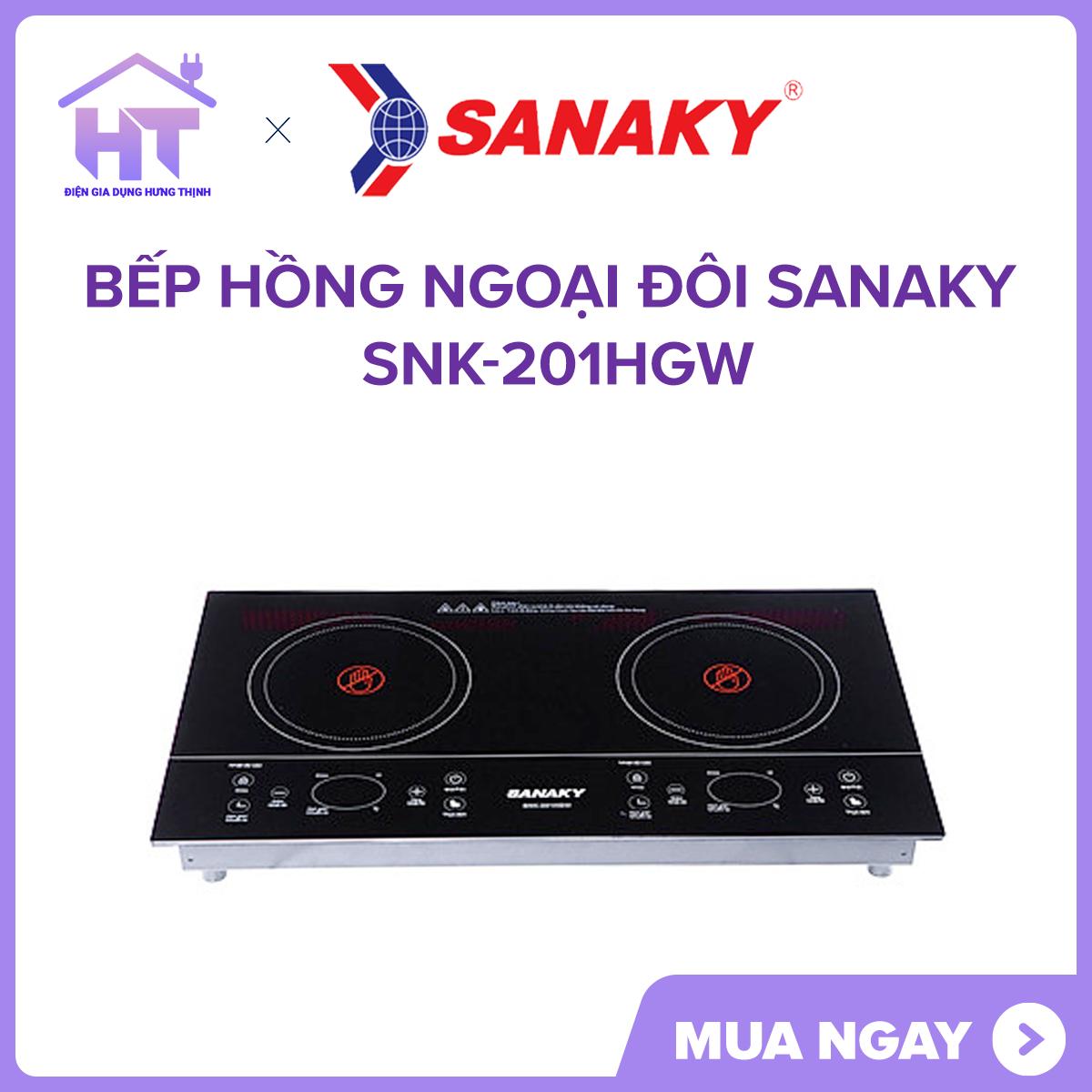 Bếp hồng ngoại đôi Sanaky SNK-201HGW Hàng Trưng Bày Mẫu Công suất 4000 W giúp nấu ăn nhanh hơn.