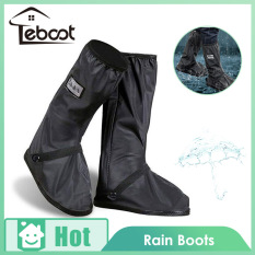 TeBoot Rain Boot Long Black Anti-slip Waterproof Shoes Cover Overshoes with Elastic String for Women Men Waterproof Boot (1 Pair)