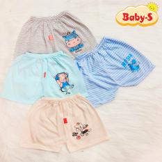 Quần chục đùi cotton kẻ chất mềm mịn thoáng mát cho bé trai và bé gái 2-10kg hình thú ngộ nghĩnh đủ màu sắc Baby-S – SQVN003