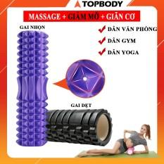 Con lăn Yoga Massage Foarm Roller, ống trụ lăn xốp thể thao giãn cơ có gai roam rollet cao cấp – CLANR03