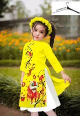 (Ảnh Thật) Set Áo Dài Cách Tân Cho Bé Gái Tặng Kèm Chân Váy và Mấn Xinh Xắn Dịp Tết ,áo dài cách tân cho bé áo dài trẻ em áo dài cho bé áo dài cách tân trẻ em