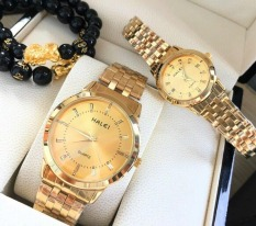 Đồng hồ đôi Nam Nữ halei dây mạ màu vàng phong cách