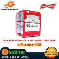 [Siêu thị Lazada] – Lốc 4 lon Bia Budweiser 500ml