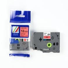 Nhãn in CPT-431 tương thích máy in nhãn Brother P-Touch – Nhãn in chữ đen nền đỏ khổ 12mm