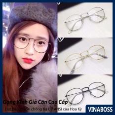 Gọng kính cận nữ Hàn Quốc giá rẻ tròng chống tia UV cao cấp – Mắt kính nữ giả cận kiểu dáng Nobita – Tặng kèm túi đựng và khăn lau