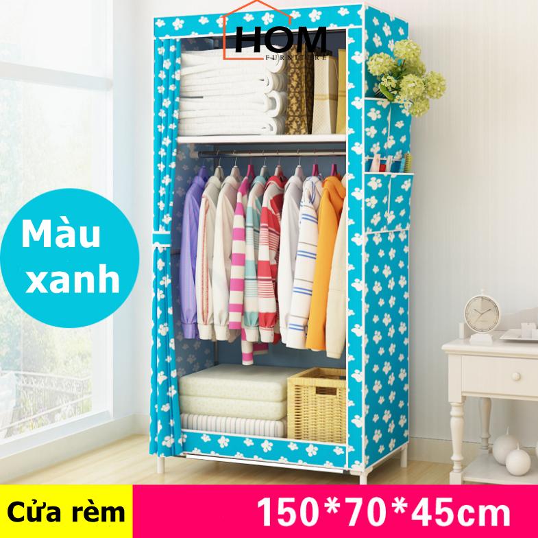 Tủ vải đựng quần áo 1 buồng dễ lắp ráp tiện dụng khung thép chắc chắn J0304