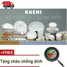 Bộ chén bát cao cấp 55 món Kachi + TẶNG chảo chống dính