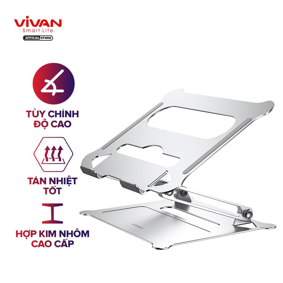 Giá Đỡ Laptop/Máy Tính Bảng VIVAN VLS01 Hợp Kim Nhôm Cao Cấp Tăng Giảm Chiều Cao Có Khe Tản Nhiệt