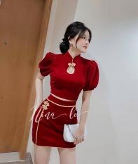 Sét Váy Tay Phồng Màu Đỏ Sang Trọng Thiết Kế Viền Né Trẻ Trung, Hạo Tiết Cổ Tàu Mảnh Mai Dễ Thương