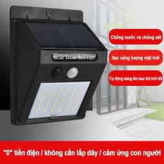 Đèn tường cảm ứng sử dụng năng lượng mặt trời, cảm biến thân nhiệt nhạy bén, chống bụi chống nước, lắp đặt đơn giản và sử dụng lâu bền