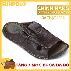 Dép Quai Ngang Nam Da Bò SUNPOLO SUD3DN (Đen, Nâu)