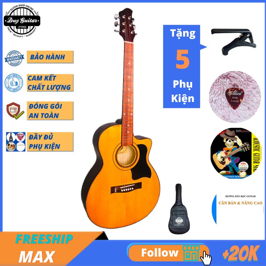 Đàn guitar acoustic giá rẻ tốt DVE70 ( màu vàng ) + tặng combo giáo trình Bao da, capo, phụ kiện Duy Guitar Store – Đàn ghitar dành cho người mới tập