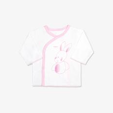 Áo vạt chéo cài nút Thỏ Chó trắng hồng – Miomio – Dành cho bé từ 0-24 tháng