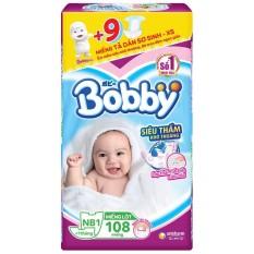 [Tặng kèm 9 miếng XS] Miếng Lót Sơ Sinh Bobby NewBorn 1 108 miếng (mẫu mới )