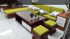 Bộ bàn ghế sofa góc ngăn kéo gỗ sồi