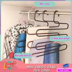 Móc treo quần áo đa năng 5 tầng kim loại, móc treo tiện lợi, phụ kiện cho gia đình, giúp tiết kiệm không gian tủ quần áo, Huy Linh