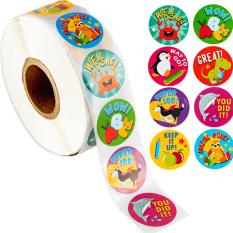 Cuộn 500 sticker nhãn dán khích lệ khen thưởng học tập cho bé yêu với nhiều họa tiết kèm slogan khiến những giờ học thêm sinh động BBShine – ST010