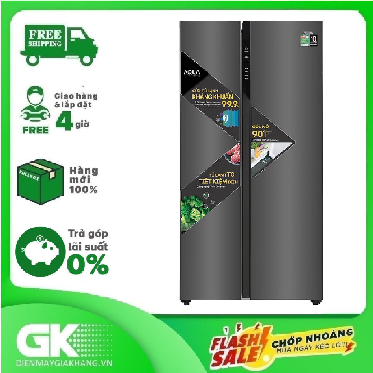 Tủ lạnh Aqua Inverter 541 lít AQR-S541XA(BL) Mới 2020