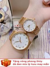 Cặp Đồng hồ đôi nam nữ BAISHUNS dây thép thời thượng ( BS3951 dây vàng mặt trắng ) – TẶNG 1 vòng tỳ hưu phong thuỷ