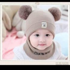 Bộ mũ và khăn len dễ thương baby cho bé-Hàng cao cấp
