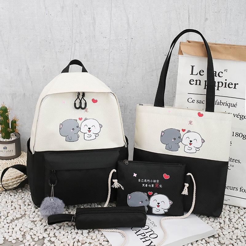 [HCM]Set 4 món Balo túi ví nam nữ đi học balo laptop chất liệu vải canvas phong cách Hàn Quốc...