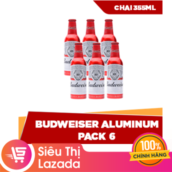 [Siêu thị Lazada] Lốc 6 chai Budweiser Alumium (355ml/chai) vị ngọt ngào tinh tế, sản xuất từ mạch nha và hoa bia thượng hạng của Hoa Kỳ