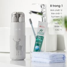 Bình du lịch đa năng 8 trong 1 đựng bàn trải, kem đánh răng, sữa tắm khăn mặt tặng kèm lược và gương