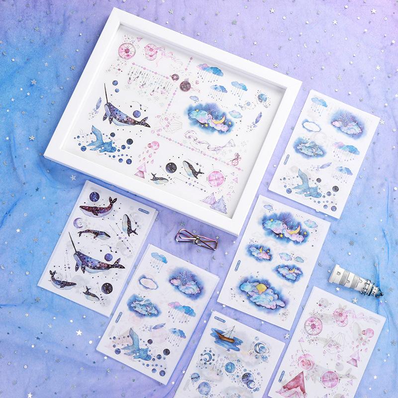 Sticker (hình dán) set 6 tấm nhiều chủ đề trang trí sổ, album, nhật ký, lưu bút, góc học tập