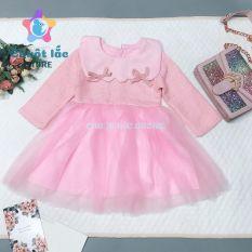 Đầm váy bé gái dài tay, váy dạ, đầm công chúa màu hồng cho bé gái từ 8kg đến 22kg