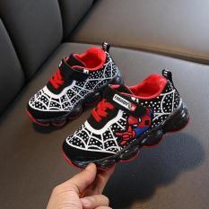 giày thể thao bé trai size 21-36 siêu nhân nhện đèn led