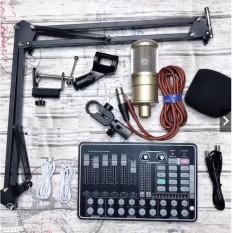 Bộ livestream mic AQ220 Sound card H9 có autu-tune chân kẹp- micro thu âm đầy đủ