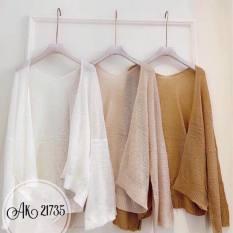 Áo khoác cardigan len miss khoác ngoài tay dài không cúc 3 màu hàng quảng châu