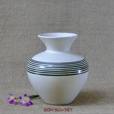 Bình hoa gốm dáng phễu men xước số 3 – Gốm Bát Tràng