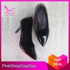 (Có mã miễn ship) Giày nữ, giày cao gót nữ 5 phân màu đen và kem sang trọng, quý phái PinkShopGiayDep
