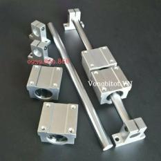 (Bộ Thanh Trượt Tròn 8-300mm) Gồm 2 thanh trượt tròn SC8 dài 300mm + 4 Hộp SCS8 + 4 Kẹp SK8