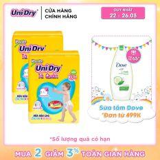 Combo 2 tã quần Unidry gói Jumbo size XL (48 miếng)