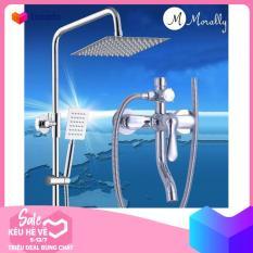 Bộ sen cây tắm đứng NÓNG LẠNH tay sen vuông Morally – MR-SV09 ( Trắng bạc)