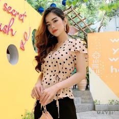 MAYBI – Áo màu be chấm bi đắp tà Beige dotties blouse