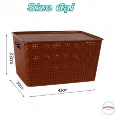 Combo 6 Giỏ Nhựa Hàn Quốc Song Long Tiện ích Có Nắp Size Đại ( MS: 2574 ) 00808