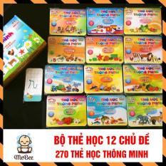 Bộ thẻ học thông minh 12 chủ đề loại to 261 thẻ học cho bé SHOPMEBEE