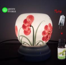 Den xong tinh dau GREEN LAMP, đèn xông tinh dầu gốm trắng hoa đỏ GR107 Bát Tràng vẽ thủ công độc đáo-chất lượng cao+ tặng bóng đèn, tặng tinh dầu-GREEN STORE