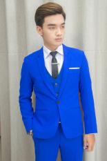 Bộ vest nam và gile sơ mi ôm body màu xanh coban tặng kèm combo phụ kiện
