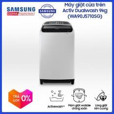 Máy giặt Samsung Cửa Trên Inverter Activ Dualwash 9Kg (WA90J5710SG/SV) – Khay giặt tay kết hợp xử lý sơ quần áo – Wobble giặt sạch hoàn hảo, chống xoắn rối – Hàng phân phối chính hãng.