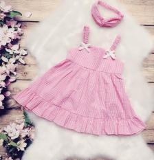 Váy bé gái màu hồng 2 dây